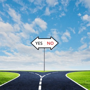 Yes or No road sign