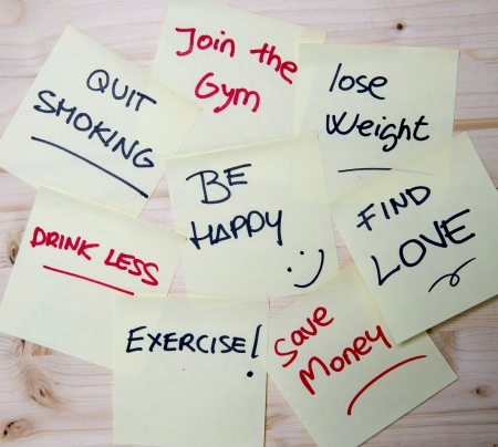 Notes: quit smoking, join the gym, lose weight, be happy, drink less, find love, exercise, save money