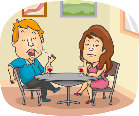 Narcissistic man drinking wine with bored woman