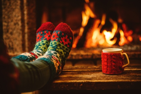 Holiday season: sitting by the fire